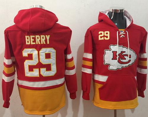 Nike Kansas City Chiefs #29 Eric Berry Red Gold Name & Number Pullover NFL Hoodie