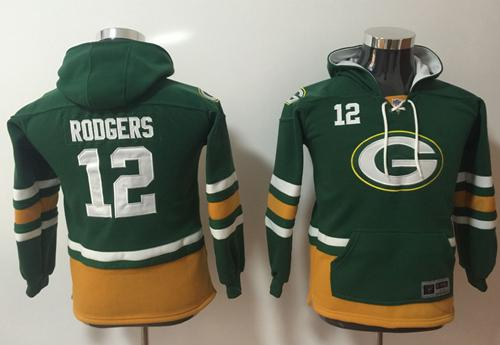 Nike Green Bay Packers #12 Aaron Rodgers Green Youth Name & Number Pullover NFL Hoodie