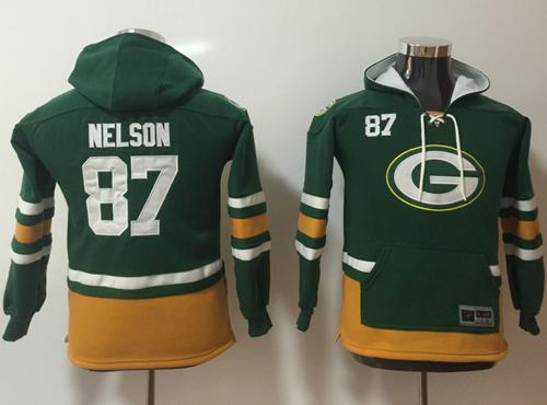 Nike Green Bay Packers #87 Jordy Nelson Green Youth Name & Number Pullover NFL Hoodie