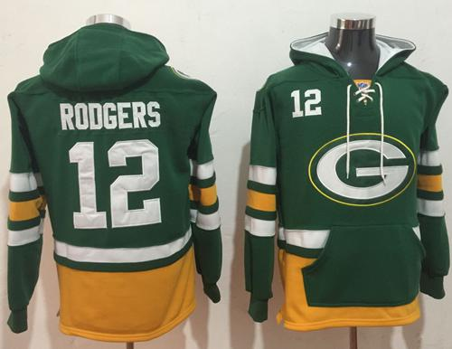 Nike Green Bay Packers #12 Aaron Rodgers Green Gold Name & Number Pullover NFL Hoodie