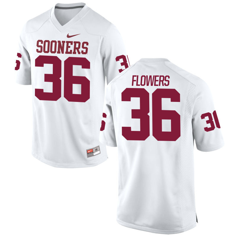 Men's Nike Dimitri Flowers Oklahoma Sooners #36 Limited White Alumni Football Jersey