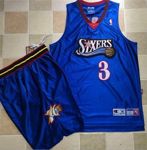 Philadelphia 76ers #3 Allen Iverson Blue A Set Stitched NBA Jersey