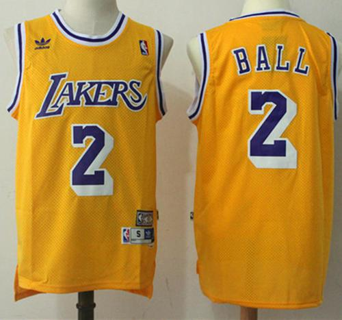 Los Angeles Lakers #2 Lonzo Ball Yellow Throwback Stitched NBA Jersey