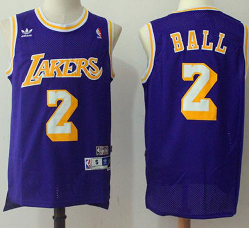 Los Angeles Lakers #2 Lonzo Ball Purple Throwback Stitched NBA Jersey