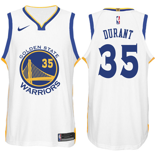 Nike NBA Golden State Warriors #35 Kevin Durant Jersey 2017-18 New Season White Jersey