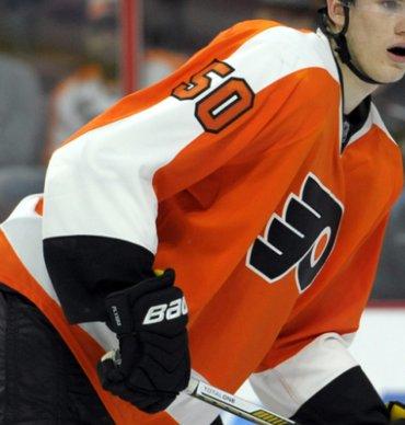 Men's Philadelphia Flyers #50 Samuel Morin Philadelphia Flyers Reebok Premier Orange Home Jersey
