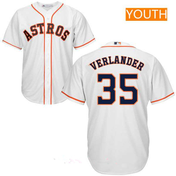Youth Houston Astros #35 Justin Verlander White Home Stitched MLB Majestic Cool Base Jersey