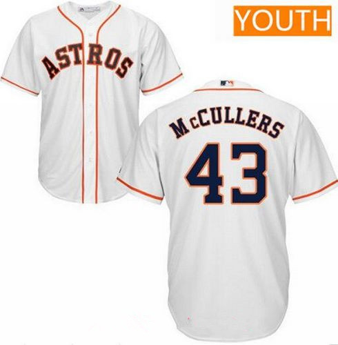 Youth Houston Astros #43 Lance McCullers Jr. White Home Stitched MLB Majestic Cool Base Jersey