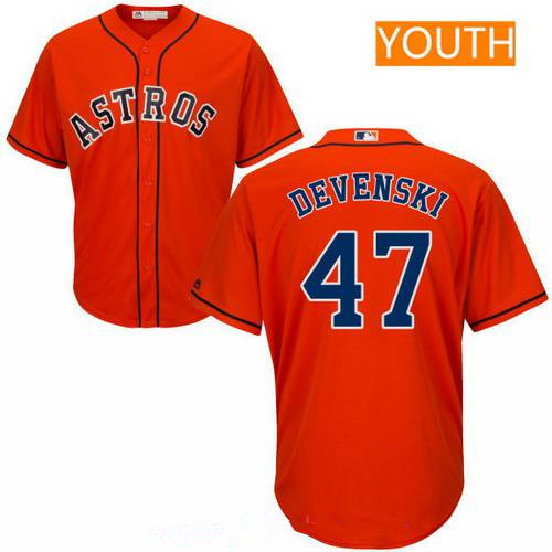 Youth Houston Astros #47 Chris Devenski Orange Alternate Stitched MLB Majestic Cool Base Jersey