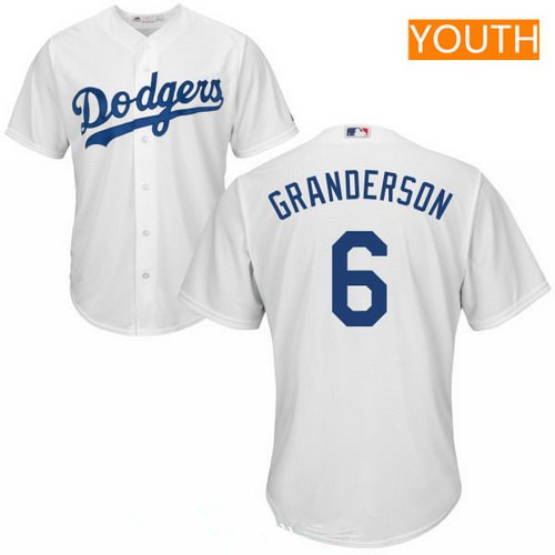 Youth Los Angeles Dodgers #6 Curtis Granderson White Home Stitched MLB Majestic Cool Base Jersey