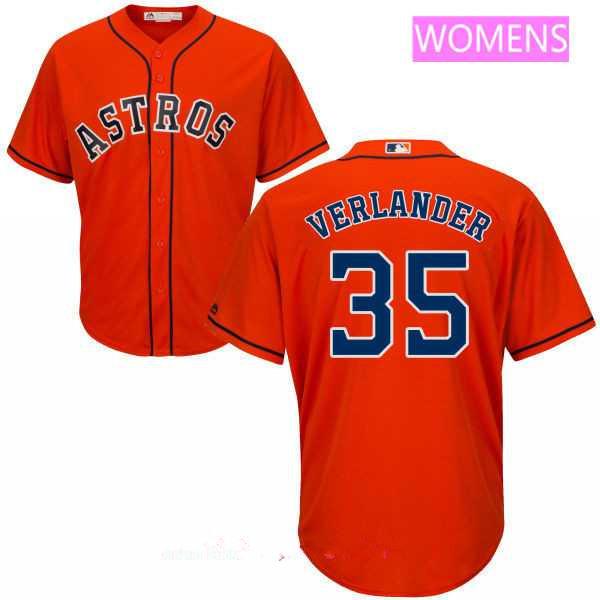Women's Houston Astros #35 Justin Verlander Orange Stitched MLB Majestic Cool Base Jersey