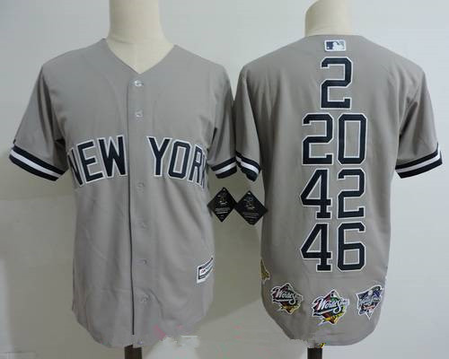 Men's New York Yankees Core Four #2 Derek Jeter #20 Jorge Posada #42 Mariano Rivera #46 Andy Pettite Gray Commemorative Jersey With Five World Series Champions Patches