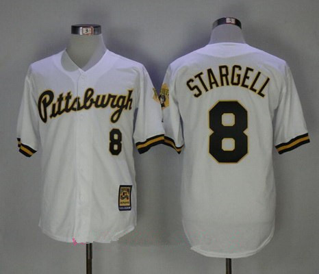 Men's Pittsburgh Pirates #8 Willie Stargell White Button 1987 Throwback Stitched MLB Mitchell & Ness Jersey