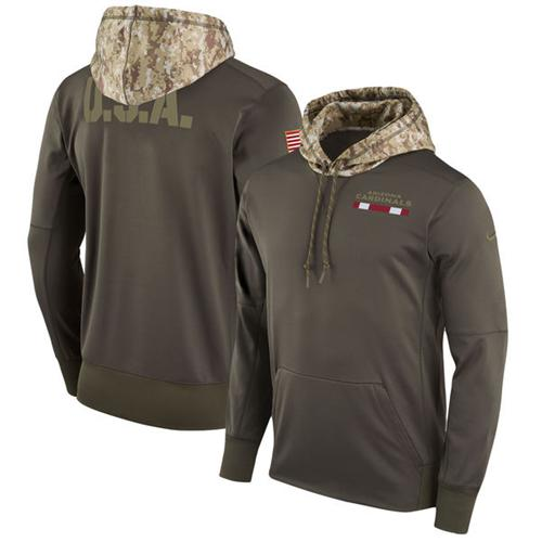 Men's Arizona Cardinals Nike Olive Salute to Service Sideline Therma Pullover Hoodie