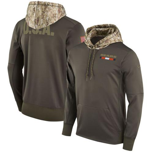 Men's Chicago Bears Nike Olive Salute to Service Sideline Therma Pullover Hoodie