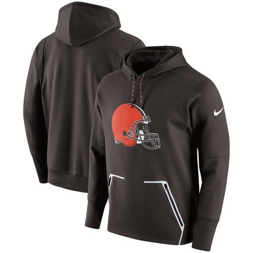Men's Cleveland Browns Nike Brown Champ Drive Vapor Speed Performance Pullover Hoodie