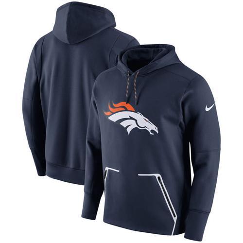 Men's Denver Broncos Nike Navy Champ Drive Vapor Speed Pullover Hoodie