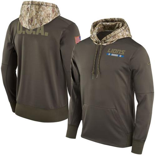 Men's Detroit Lions Nike Olive Salute to Service Sideline Therma Pullover Hoodie