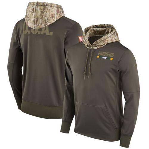 Men's Green Bay Packers Nike Olive Salute to Service Sideline Therma Pullover Hoodie