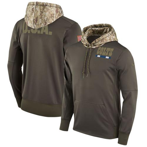 Men's Indianapolis Colts Nike Olive Salute to Service Sideline Therma Pullover Hoodie