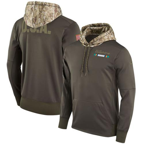 Men's Miami Dolphins Nike Olive Salute to Service Sideline Therma Pullover Hoodie