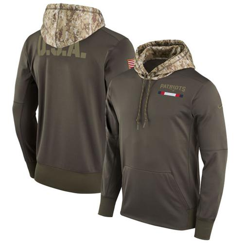 Men's New England Patriots Nike Olive Salute to Service Sideline Therma Pullover Hoodie