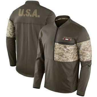 Nike San Francisco 49ers Olive Salute to Service Sideline Hybrid Half-Zip Pullover Jacket