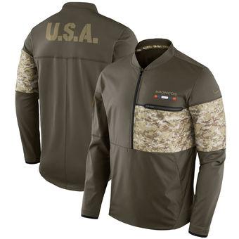 Nike Denver Broncos Olive Salute to Service Sideline Hybrid Half-Zip Pullover Jacket