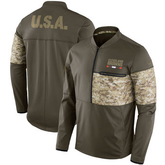 Nike Cleveland Browns Olive Salute to Service Sideline Hybrid Half-Zip Pullover Jacket