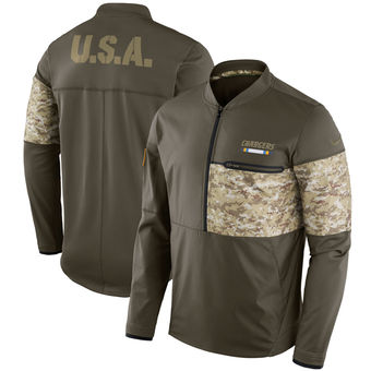 Nike Los Angeles Chargers Olive Salute to Service Sideline Hybrid Half-Zip Pullover Jacket