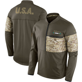 Nike Miami Dolphins Olive Salute to Service Sideline Hybrid Half-Zip Pullover Jacket