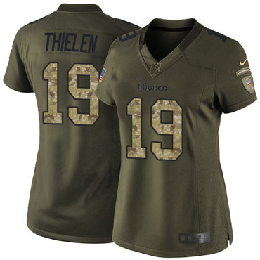 Women's Nike Minnesota Vikings #19 Adam Thielen Green Stitched NFL Limited 2015 Salute to Service Jersey