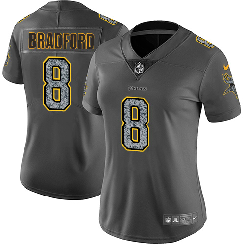 Women's Nike Minnesota Vikings #8 Sam Bradford Gray Static Stitched NFL Vapor Untouchable Limited Jersey