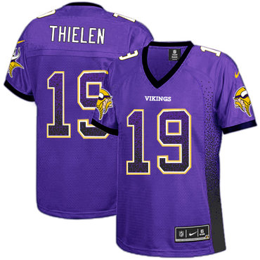 Women's Nike Minnesota Vikings #19 Adam Thielen Purple Team Color Stitched NFL Elite Drift Fashion Jersey