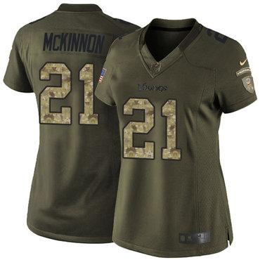 Women's Nike Minnesota Vikings #21 Jerick McKinnon Green Stitched NFL Limited 2015 Salute to Service Jersey