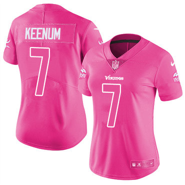 Women's Nike Minnesota Vikings #7 Case Keenum Limited Pink Rush Fashion NFL Jersey