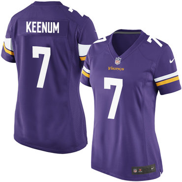 Women's Nike Minnesota Vikings #7 Case Keenum Game Purple Team Color NFL Jersey