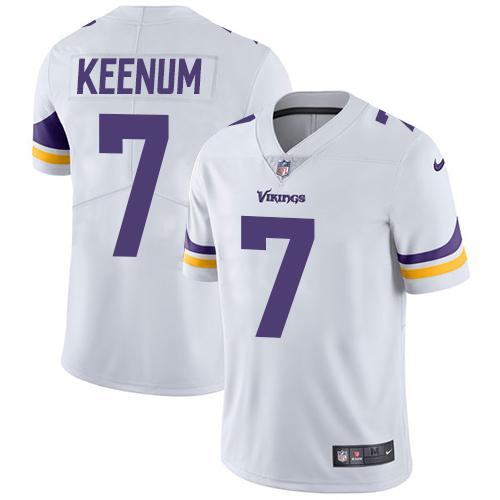 Men's Nike Minnesota Vikings #7 Case Keenum White Vapor Untouchable Limited Player NFL Jersey