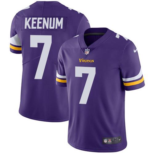 Men's Nike Minnesota Vikings #7 Case Keenum Purple Team Color Vapor Untouchable Limited Player NFL Jersey