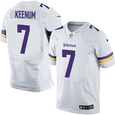 Men's Nike Minnesota Vikings #7 Case Keenum White Stitched NFL Elite Jersey