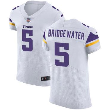 Men's Nike Minnesota Vikings #5 Teddy Bridgewater White Stitched NFL Vapor Untouchable Elite Jersey