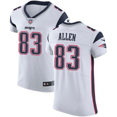 Men's Nike New England Patriots #83 Dwayne Allen White Stitched NFL Vapor Untouchable Elite Jersey