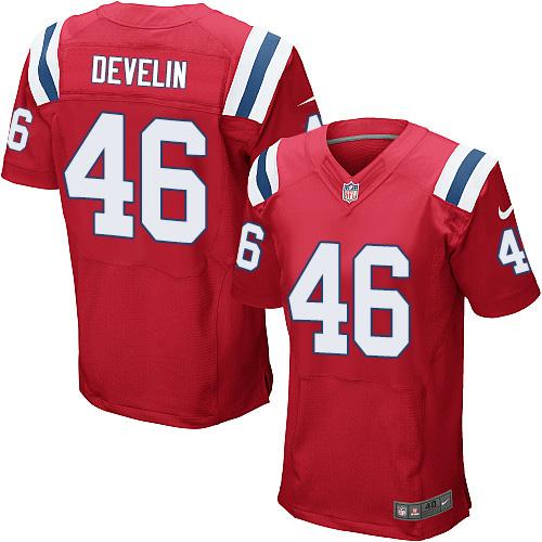 Men's Nike New England Patriots #46 James Develin Red Alternate Stitched NFL Elite Jersey
