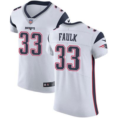 Men's Nike New England Patriots #33 Kevin Faulk White Stitched NFL Vapor Untouchable Elite Jersey