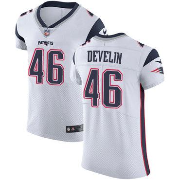 Men's Nike New England Patriots #46 James Develin White Stitched NFL Vapor Untouchable Elite Jersey