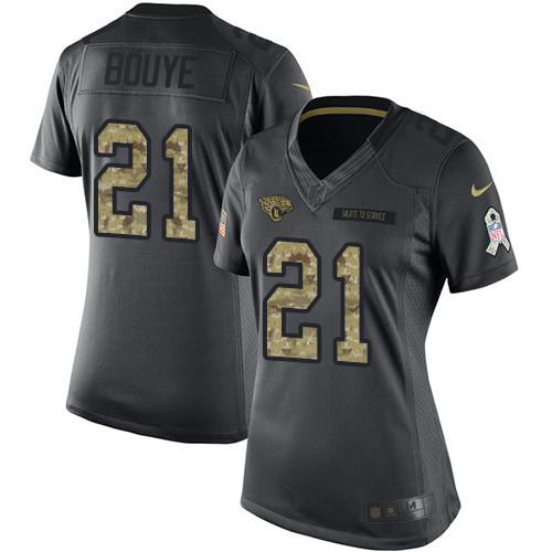 Women's Nike Jacksonville Jaguars #21 A.J. Bouye Black Stitched NFL Limited 2016 Salute to Service Jersey