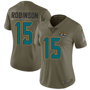 Women's Nike Jacksonville Jaguars #15 Allen Robinson Olive Stitched NFL Limited 2017 Salute to Service Jersey