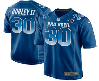 Men's Los Angeles Rams #30 Todd Gurley II Navy Blue 2018 Pro Bowl Stitched NFL Nike Game Jersey