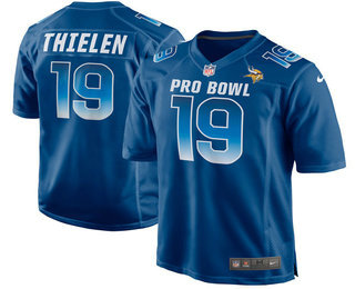 Men's Minnesota Vikings #19 Adam Thielen Navy Blue 2018 Pro Bowl Stitched NFL Nike Game Jersey