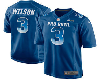 Men's Seattle Seahawks #3 Russell Wilson Navy Blue 2018 Pro Bowl Stitched NFL Nike Game Jersey
